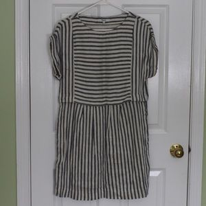 Madewell Blue and Ivory Striped Woven Linen Dress